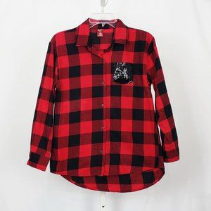 Arizona Red Black Plaid Sequin Pocket Button Top